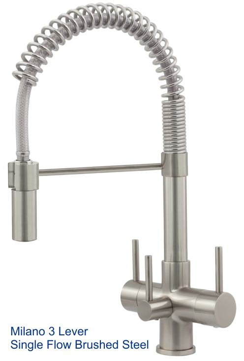 Acquapuro Milano Single Flow 3 Lever 3-Way Tap Brushed SteelS