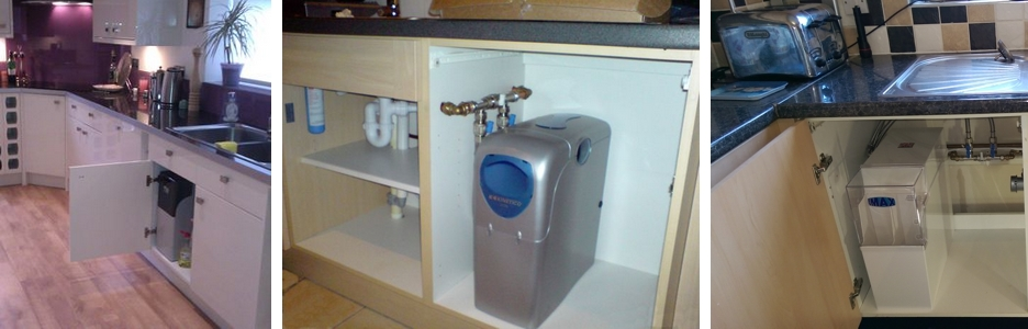 M2 water softener kitchen installation, Kinetico 2020c installation, Minimax water softener installation